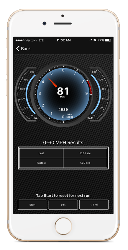Performance page on OBDLink app for iOS