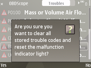 OBDscope clear codes warning