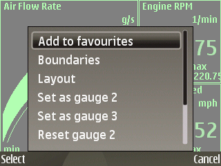OBDscope gauge settings